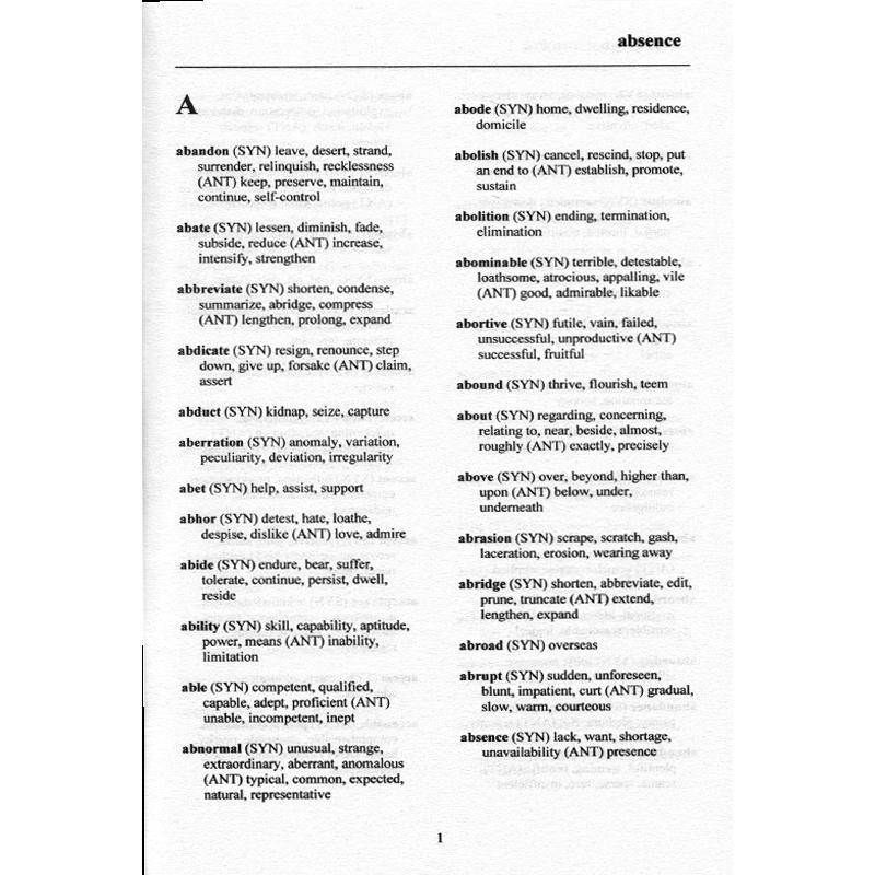 Thesaurus Synonyms & Antonyms; Canadian Edition